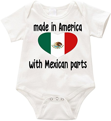 Anicelook Made in America with Mexican Parts - Funny Infant Romper Onesie Creeper (3-6 Months ()