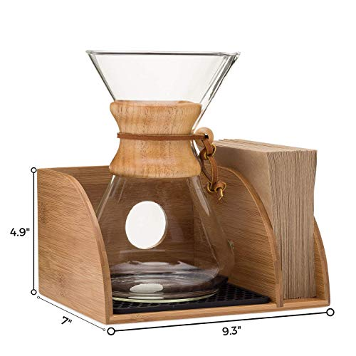Chemex Coffee Maker Organizer with Silicone Mat | Eco-friendly, Durable & Water Resistant Bamboo | Designed for Baratza Encore Burr Grinders, Chemex Coffee Makers & Chemex Filters by Drip & Brew Coffee Company (Image #2)