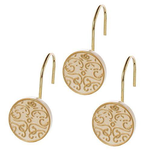 Shannon Resin Shower Curtain Hooks- Set of 12- Decorative Rust Resistant Bath Hook- Durable Sturdy Construction- Smooth Gliding Drawing Mechanism- for Elegant Bathroom Décor- Great Gift Idea