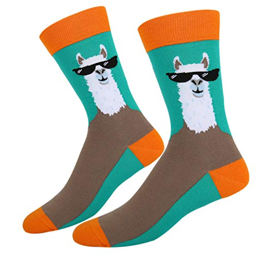 Men's Novelty Funny Cute Animal Crew Socks Crazy Blue Orange Brown Colorful Llama with Glasses Cotton -