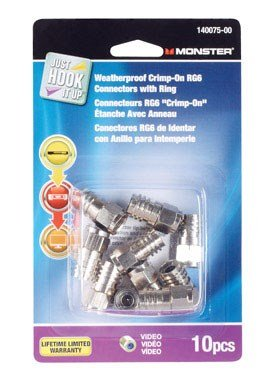 Monster Cable Connectors Rg6 Carded 10 / Pack