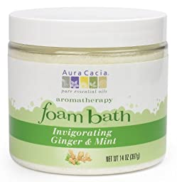 Aura Cacia Aromatherapy Foam Bath, Invigorating Ginger and Mint, 14 ounce jar