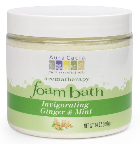 (Aura Cacia Aromatherapy Foam Bath, Invigorating Ginger and Mint, 14 ounce jar)