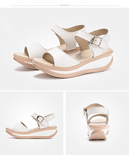 with Women's Heeled Walking Leather Ups Shape Platform Wedges Shoes Toe Buckle Peep Comfort White Cystyle Sandals gxqH1OO