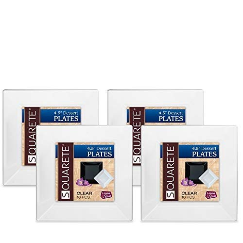 Squarete 4.5'' inch Clear Dessert Plates Party Plates Hard Plastic Elegant Disposable 10 Dessert Plates Per Package Pack of 4