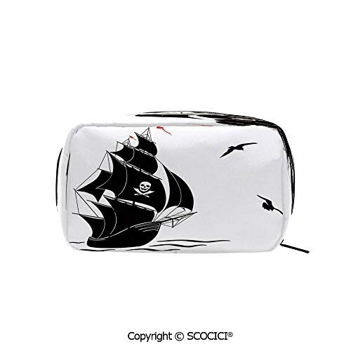 Rectangle Portable makeup organizer Cosmetic Bags Silhouette of Old Sail Pirate Ship Flying Seagulls Ocean Waves Jolly Roger Decorative Printed Storage Bags for Women Girls