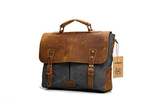 sulandy@ - Cartera de cuero de lona diseño retro para hombre, baldorela, maletín, bolsa gris
