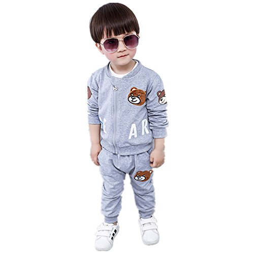 Gift For 6 Month Anniversary - FTSUCQ Kids Cartoon Zip Front Tracksuits Jacket Coat + Shirt + Pants,Gray 80