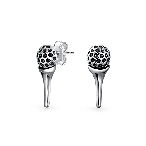 Golf Tee And Ball Sports Put Two Tone Tiny Stud Earrings For Golfer Women Oxidized 925 Sterling Silver (Golf Silver Sterling Marker)