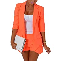 Candy Color Set de dos piezas 3/4 Sleeve Blazer Hot Pants Pantalones Cortos Slim pantsuit Suit