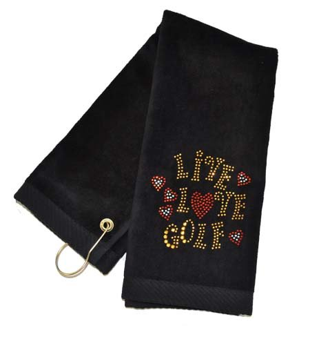 Navika Black Live Love Golf Golf Towel Accented with Crystals