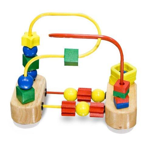 Wooden First Bead Maze Classic Toy + FREE Melissa & Doug Scratch Art Mini-Pad Bundle [30427] ()