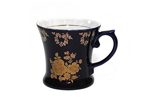 Royalty Porcelain Tea Cup/Mug, 24K Gold Czech Porcelain (1, Cobalt Blue Floral -