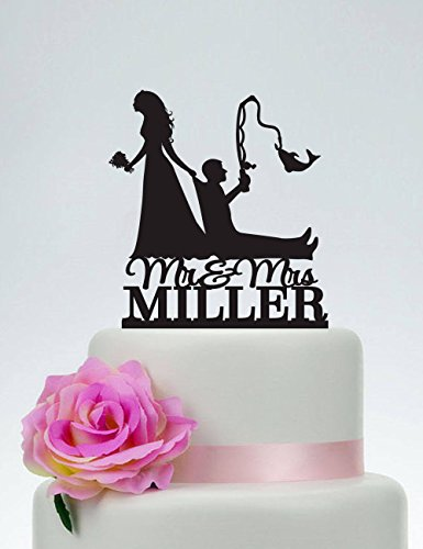 - Bride Pulling Groom Bride Dragging Groom Funny Custom Fishing Mr And Mrs Outdoor Wedding Wedding Cake Toppers Letters Funny Wedding Anniversary Cake Topper Party Event Decorations Wedding Gift