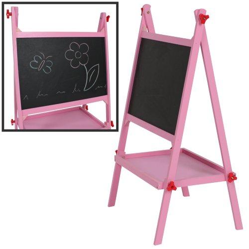 TecTake Pizarra para infantil pizarra para pintar pizarra de madera para niños rosa