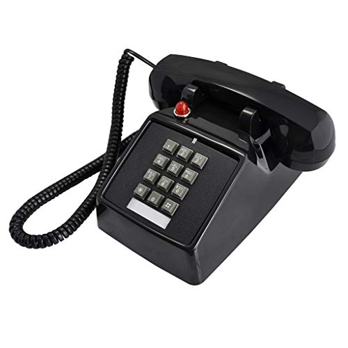 1970s Inspired Fixed-line Push-Button Retro Telephone with Classic Metal Bell Ringer (Color : Black)