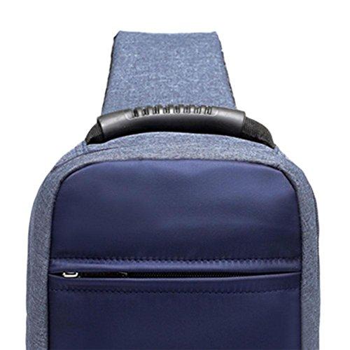 Shoulder Handbag Usb Everpert Big Charging Packs Casual Chest Men Blue Crossbody wX6TqZX