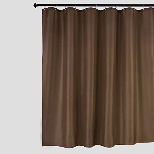 Biscaynebay Fabric Shower Curtain Liner, Water Resistant Bathroom Curtain Liner 72 by 72 Inch Brown/Chocolate (Curtain Shower Brown)