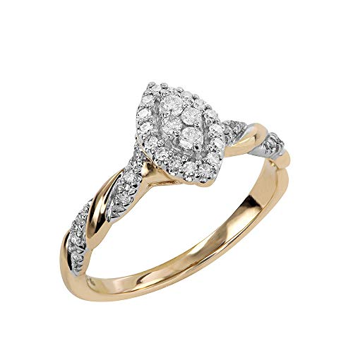 Brilliant Expressions 10K Yellow Gold 1/5 Cttw Conflict Free Diamond Marquise Halo and Serpentine Twist Engagement Ring (I-J Color, I2-I3 Clarity), Size 6