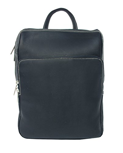 Piel Leather Slim Front Pocket Backpack in Black