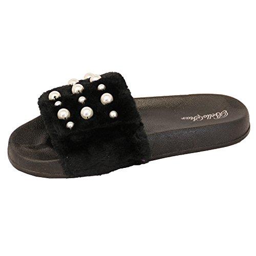 Enfiler À Femmes Perle Noir Été 5837 Pantoufles Sliders Faux Modèle Fourrure Plates Sandales q14Rr54nE
