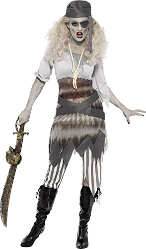 [Smiffy's Women's Ghost Ship Shipwrecked Sweetie Costume, Dress, Leggings, Belt, Eyepatch and Bandana, Ghost Ship, Halloween, Size 10-12,] (Ghost Baby Halloween Costume)