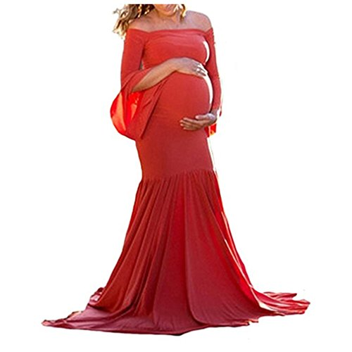 SICILY Maternity Dress Cold Shoulder Bell Sleeves Photo Prop Mermaid Gown With Long Train For Pregnant Photography (L, -