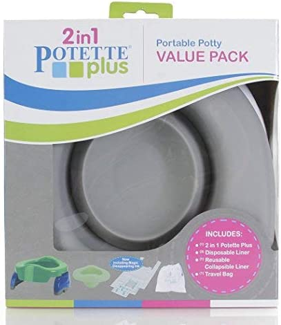 Potette Plus Potty Value Pack Kalencom 2in1 Potette Plus Portable Potty and Reusable Collapsible Liner for Home Use White//Gray