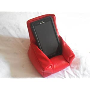 Leather Cellphone Beanbag Chair Red