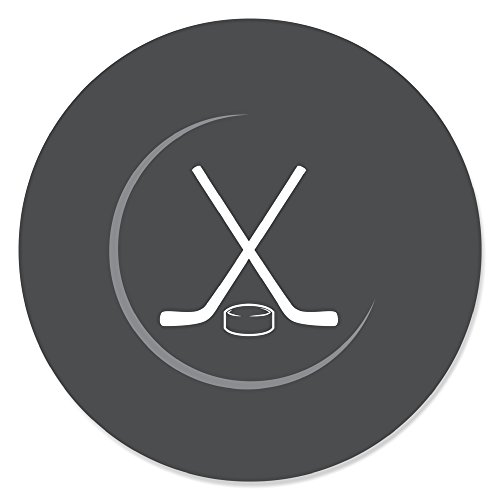 - Big Dot of Happiness Shoots & Scores! - Hockey - Baby Shower or Birthday Party Circle Sticker Labels - 24 Count