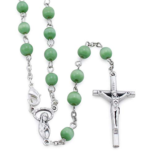 (Green Cat Eye Beads Rosary Necklace)