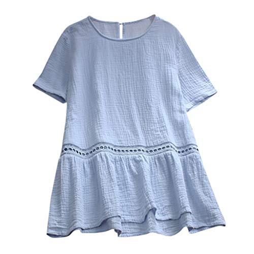 Pengy Women Hollow Top Solid Color Cotton and Linen Loose O-Neck Short Sleeve T-Shirt Tops Short Dress Blue