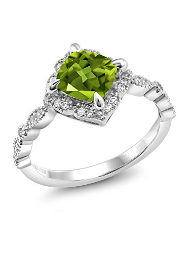 2.04 Ct Cushion Green Peridot 925 Platinum Plated Sterling Silver Ring (Price Patron Platinum)
