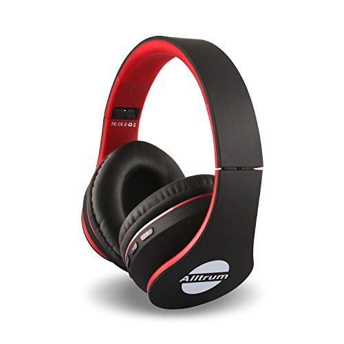 Alltrum Over-Ear Headphones,Hi-Fi Stereo Headset,Adjustable Headsets for Traveling/Sports/Relaxation,Foldable Headphones with Microphone and Music Playback for Most of Smartphones – red-with-Black