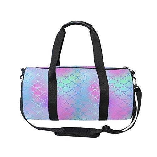 Cheap U LIFE Colorful Mermaid Tail Striped Sports Gym Shoulder Handy Duffel Bag