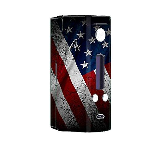 Skin Decal Vinyl Wrap for Wisemec Reuleaux rx200 Vape Mod Box / American Flag distressed ()