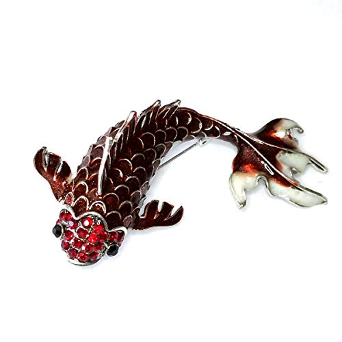 Large Bejeweled and Enameled Red Koi Fish Pin