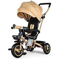 Fascol 4 in 1 Dreirad Klappbar Kinderwagen Tricycle für Kinder ab 6 Monate bis 5 Jahren, Kinderdreirad mit Abnehmbarer Sonnendach Schubstange