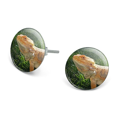 Bearded Dragon in Profile Novelty Silver Plated Stud (Bearded Dragons In Costumes)