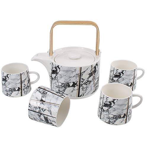 in Tea Set Coffee Service with Wooden Handle and Infuser, Teapot and 4 Cups Set Serves for 4, Wedding Christmas Gift ()