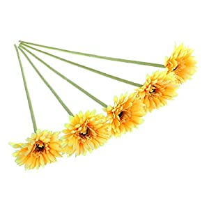 ULTNICE 5pcs Wedding Gerbera Daisy Artificial Flowers for Home Decoration (Yellow) 12