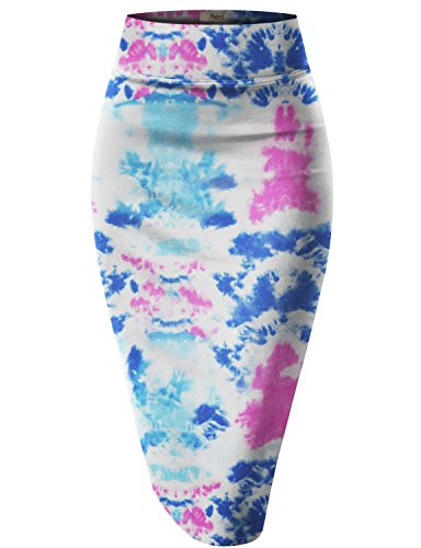 Womens Pencil Skirt for Office Wear KSK43584X 10604 Blue/Pink ()