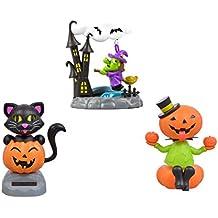 Halloween Solar Powered Dancing Moving Pumpkin Witch Cat 3 Piece Set