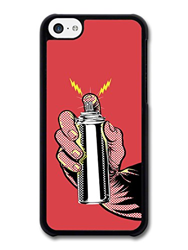Spray Can in Pop Art Style with Lightning Graphics on Red case for iPhone 5C