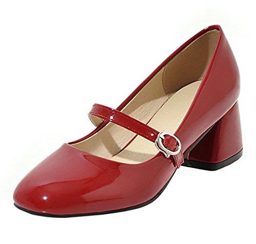 YE Damen Mary Jane Lack Pumps Chunky Chunky Chunky Heels mit Schnalle und Blockabsatz 5cm Bequem Freizeitschuhe Rot 75d965