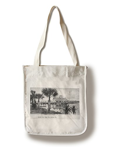 Daytona Beach, Florida - Halifax River Yacht Club Scene (100% Cotton Tote Bag - Reusable, Gussets, Made in - Florida Daytona Shopping Beach