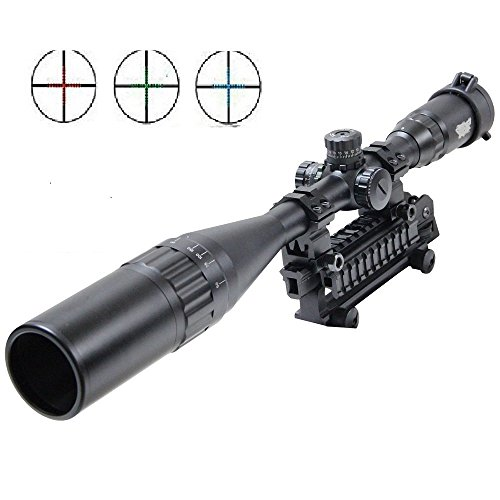 UUQ® 4-16X50mm AOL Clarity+ Hunting Rifle Scope W front AO Adjustment, Red/Blue/green Mil-dot Reticle, Heavy Duty Ring Mounts, Flip Up Lens Covers and Extended Sunshade