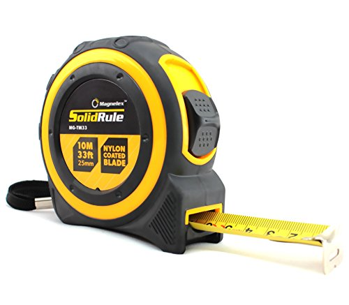 Tape Measure 33-Foot (10m) by Magnelex, Inches and Metric Measuring Tape for Construction, Home Use and DIY, Smooth Sliding Nylon Coated Ruler, Strong Belt Clip, Impact Resistant Rubber Covered Case