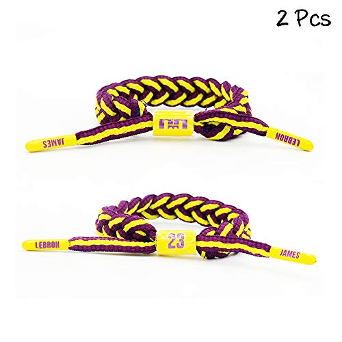FANwenfeng Basketball Team Star Wristband Hand Weave Adjustable Shoelace Bracelet (① James)