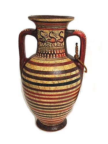 B&I Minoan Pottery Mini Amphora Vase - Geometric Design - Handmade in Greece, 12 cm.